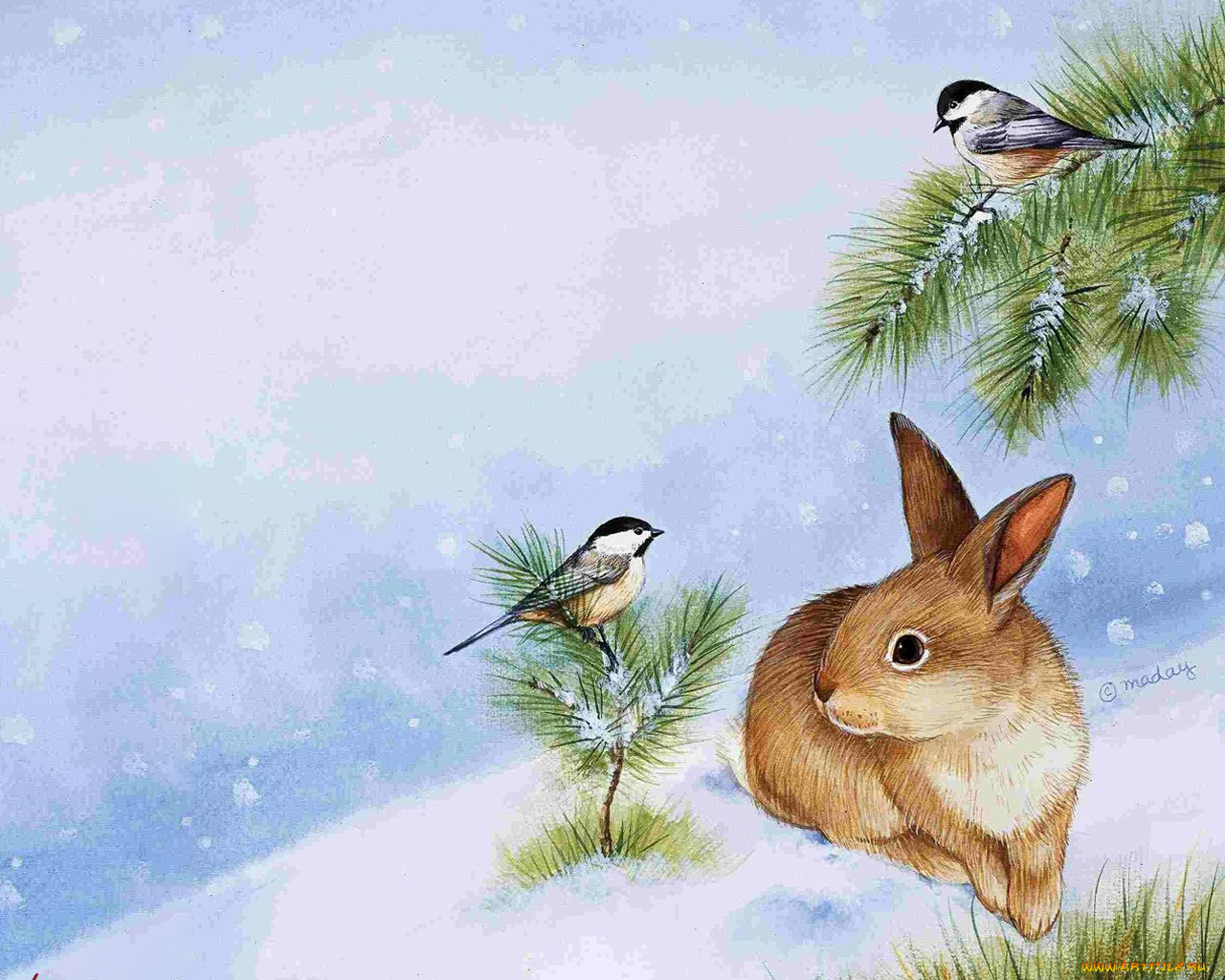 животные зимой картинки рисунки выше